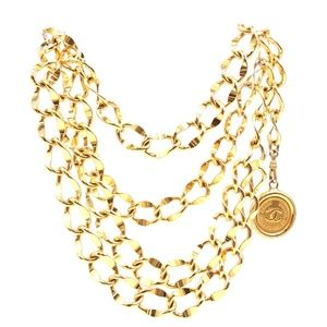 Gold Cc Wide Double Chain Belt Charm Necklace